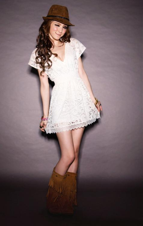 Party Club Women White Deep V Neck Vestido Lace Dresses Short Sleeve New 2014-in Dresses from Apparel & Accessories on Aliexpress.com