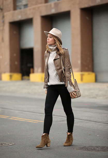 brooklyn blonde blogger hat sweater jacket jeans shoes