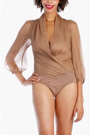 LoveMelrose.com From Harry & Molly | Sheer Blouse Top Bodysuit
