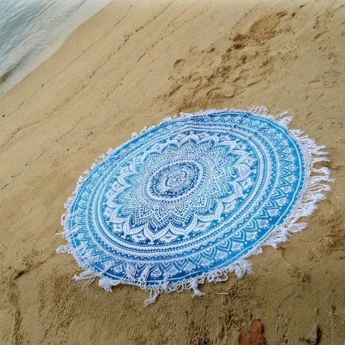 Blue Ombre Round Mandala Beach Tapestry