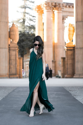 wendy's lookbook blogger dress shoes sunglasses high heel sandals green dress maxi dress