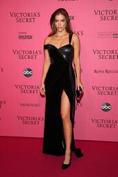 dress,gown,prom dress,black dress,maxi dress,bustier dress,slit dress,barbara palvin,victoria's secret model,victoria's secret