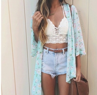 top hipster trendy summer cute boho wild coachella white floral soft crop jeans