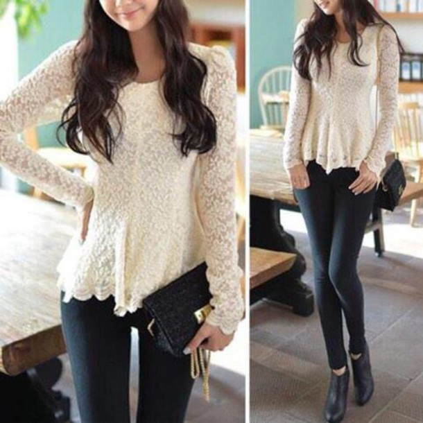 blouse clothes creme white fashion style fall sweater chic fancy shirt white long sleeve shirt top white lace classy casual asian