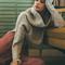 Grey fold over off the shoulder slit sweater -shein(sheinside)