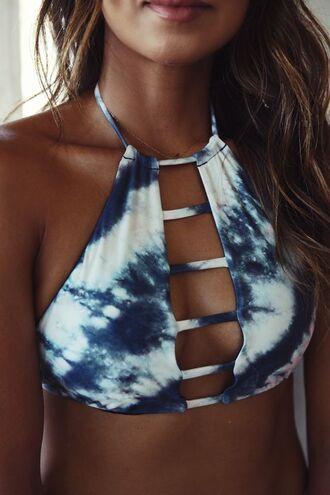 swimwear bikini dye tie dye vintage hipster boho bohemian ethnic aztec hippie blue sea ocean halter neck