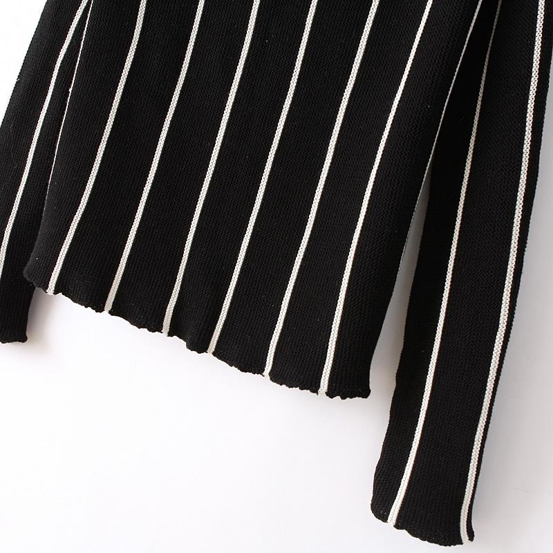Vertical Stripe Knitted Sweater [FKBJ10198] - PersunMall.com