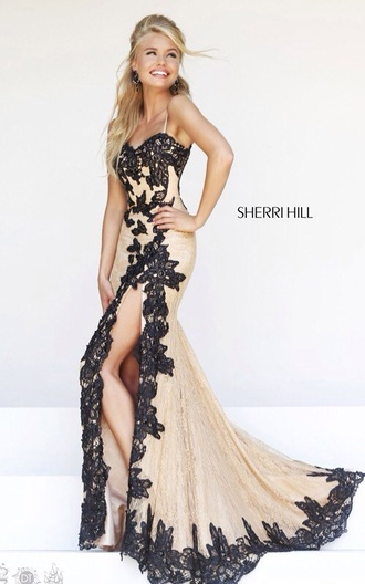 dress black and nude lace prom dress