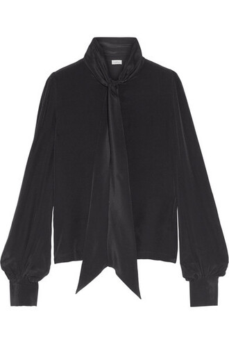blouse bow black silk top