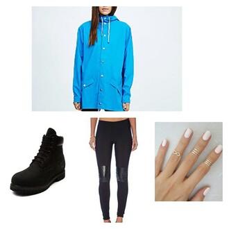 coat tights blue jacket timberland