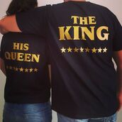 t-shirt,tees2peace,king,queen,gold,edition,love,tees,couple,couples shirts,matching couples,matching set,black t-shirt,black and gold,anniversary present,birthday present for him,his and hers shirts,girlfriend gift ideas,boyfriend,stars,tumblr shirt,tumblr,tumblr clothes,instagram models,king and queen,the king his queen,valentines day gift idea,gift ideas