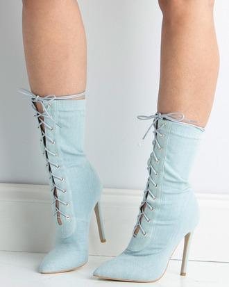 shoes booties denim denim shoes denim booties acid wash light wash denim lace up lace-up shoes