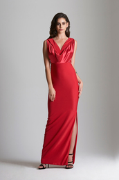 dress,balearic gown,silk sating gown,prom dress,prom gown,date night gown,date dress,red gown,red satin gown,red silk satin dress,formal gown,silk dress,silk satin dress,long dress,winter date night outfit,slit dress,formal dress,designer gowns for women,red dress,Eve Vardar