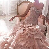 dress,ball gown dress,pink dress,wedding dress,hair accessory,evening dress,wedding dresses 2016,wedding gowns 2016,rose,pink,elegant,elegant dress,long dress,pearl,pearl dress,mermaid prom dress,mermaid dresses