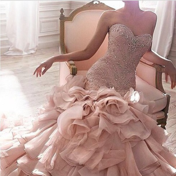 dress, ball gown dress, pink dress, wedding dress, hair accessory ...