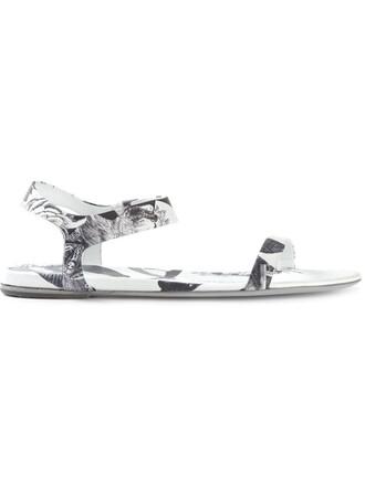 women sandals flat sandals floral leather white print shoes