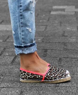 shoes espadrilles leopard print fluo sandals flats