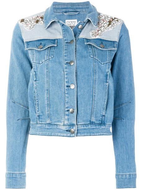 Twin-Set jacket denim jacket denim women spandex embellished embellished denim cotton blue