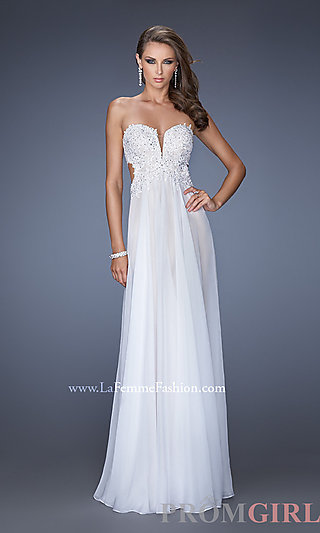 Long Strapless Prom Dress, La Femme Strapless Prom Gown- PromGirl