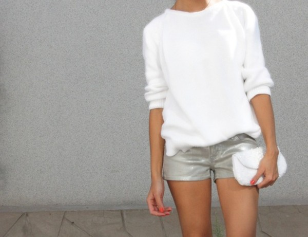 sweater shorts silver shorts white sweater pointed toe pumps pumps silver pumps bag white bag clutch white clutch spring outfits