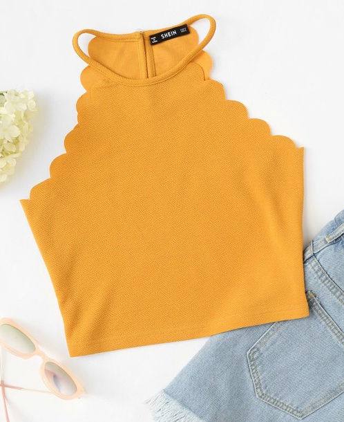 blouse girly mustard crop tops crop cropped scalloped