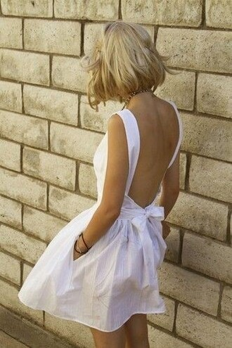 white dress bow halter top backless dress open backed dress backless white dress