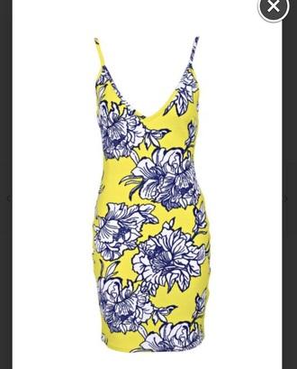 dress yellow dres blue flowers