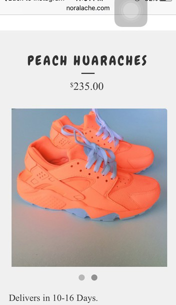 shoes huarache nike sneakers peach