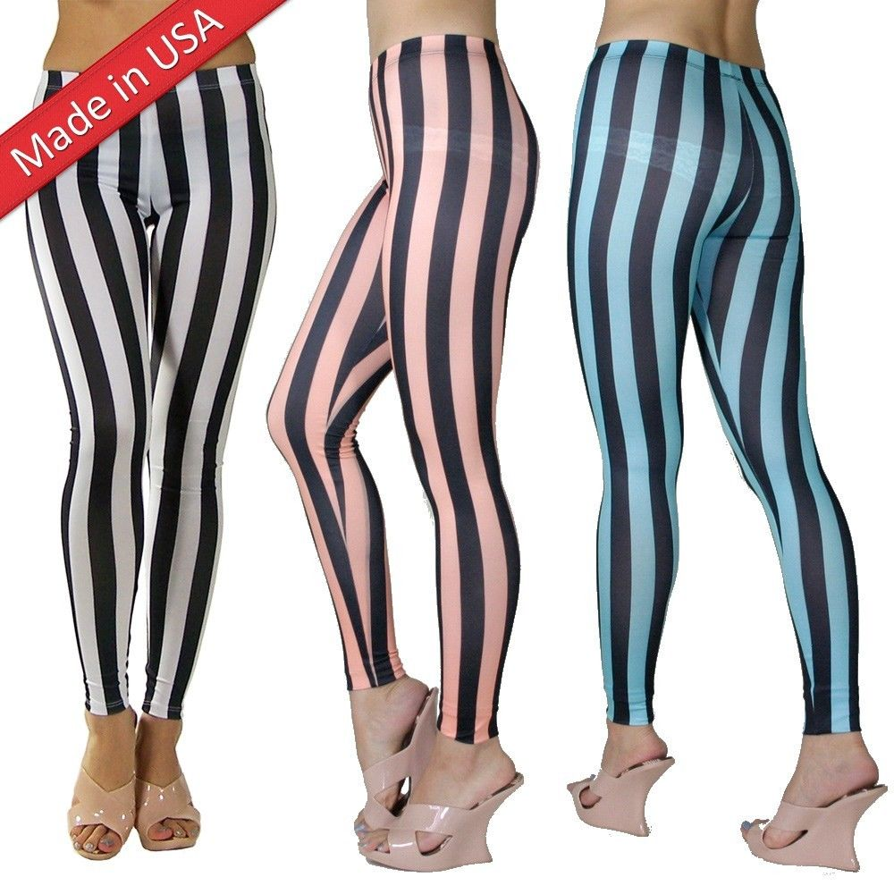Vertical Striped Sorbet Color Pastel Black White Stripe Leggings Tights Pants