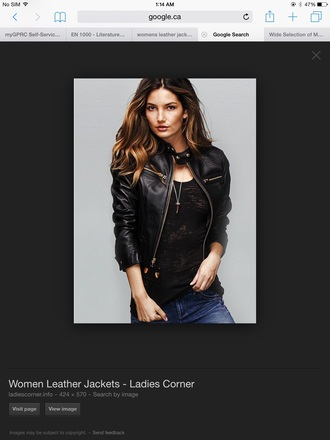 jacket black leather jacket leather black jacket bomber jacket denim jeans pants necklace jewels jewelry black top black t-shirt black and white woman's clothing women white white t-shirt white top white shirt black and white shirt black and white blouse