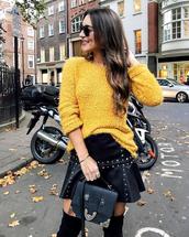 sweater,tumblr,knit,knitted sweater,yellow sweater,skirt,mini skirt,leather skirt,bag,black bag