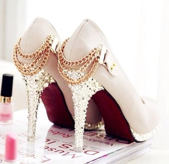 shoes gold chains high heels silver, nude high heels rhinestones edgy style