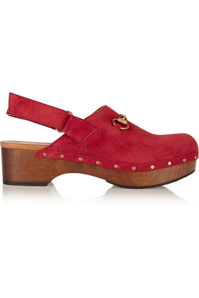 Gucci Horsebit-Detailed Suede Clogs in red