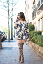 champagne&citylights,blogger,romper,jewels,bag,sunglasses,shoes,over the knee boots,boots