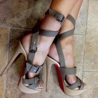 shoes high heels open toes khaki strappy extra high heels