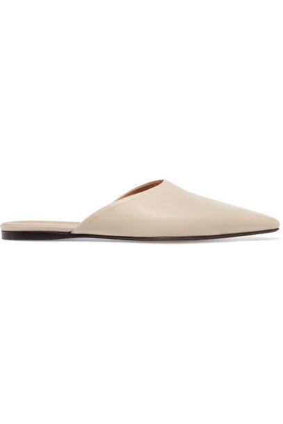 The Row slippers leather beige shoes