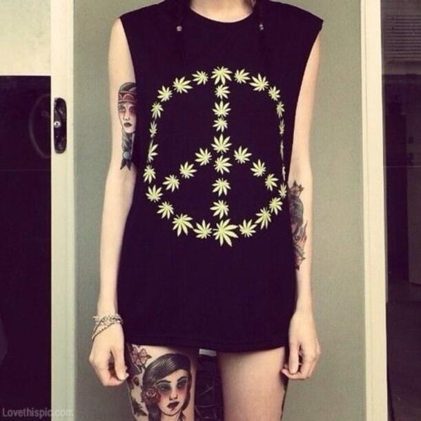 shirt black pot peace t-shirt tank top