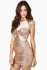 Rose gold sequins dress