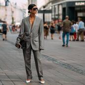 jacket,blazer,wide-leg pants,oversized,bag,sunglasses,mid heel pumps