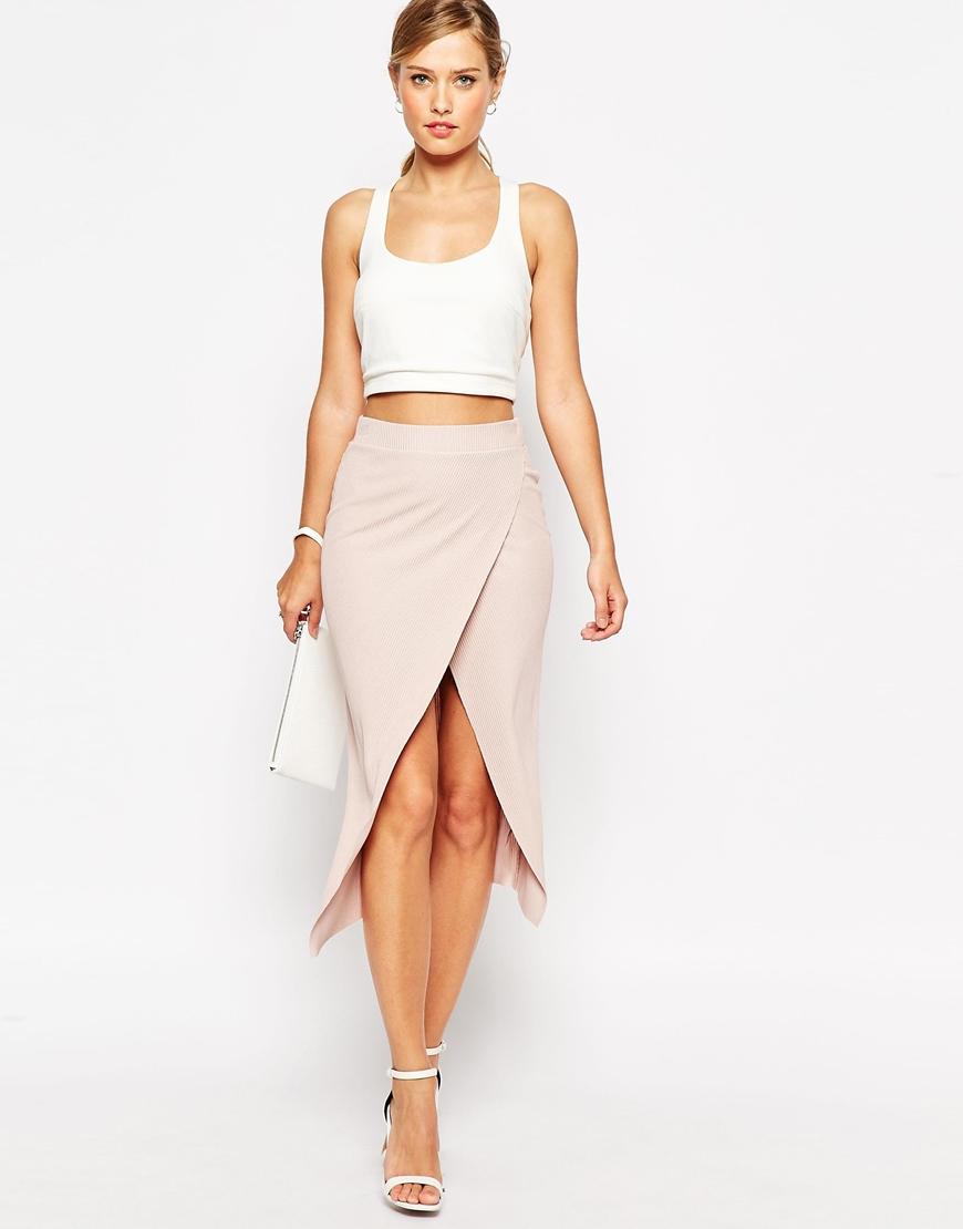 ASOS Rib Wrap Midi Pencil Skirt at asos.com