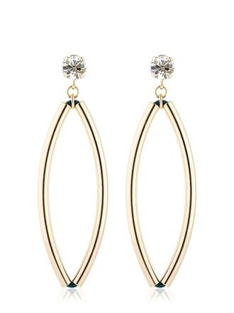 earrings gold green jewels