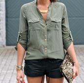 shirt,army green,tumbl,gold,lose,green,blouse,pockets,cute