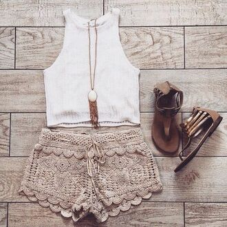 shorts tank top jewels shoes lace shorts high neck