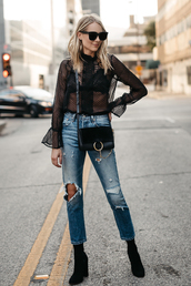 fashionjackson,blogger,top,jeans,shoes,sunglasses,bag,jewels,fall outfits,see through top,black blouse,crossbody bag,boots