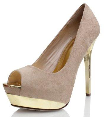 Amazon.com: Oatmeal Beige Faux Suede Peep Toe Metallic Stiletto Heels Pumps Flight: Shoes