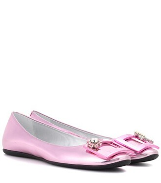 metallic leather pink shoes