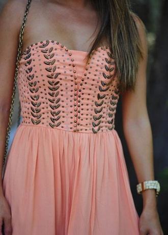 dress peach studded peach dress pink dress embellished dress strapless dress