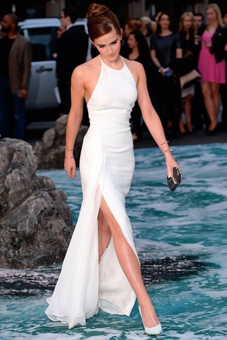dress formal dress white dress prom dress emma watson white side split maxi dress white long dress slit dress high neck floor length dress slit leg dress halter neck white floor length slit leg dress