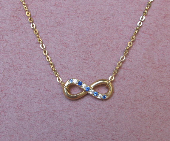 Infinity Necklace With Crystal Stones  Anniversary Gift by Bestyle