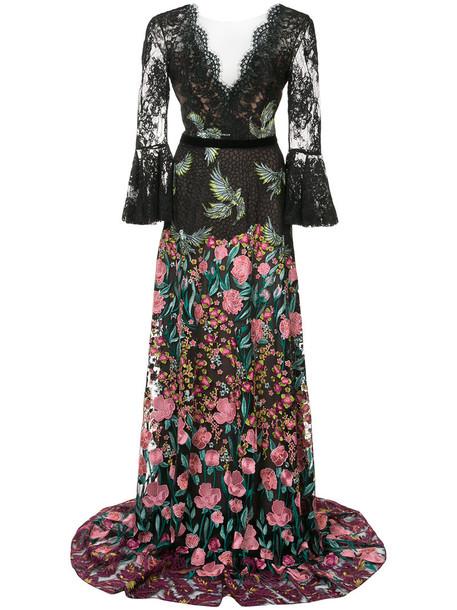 Marchesa Notte dress maxi dress maxi embroidered women floral cotton black